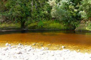 Sandflys am rostroten Fluss